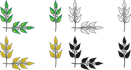 Illustration for Set of vector design elements. Corner ornament - Laurel branches. This is a vector image - you can simply edit colors and shapes. - Royalty Free Image