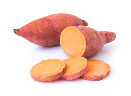 Photo for Sweet potato with slices on white background, raw food - Royalty Free Image