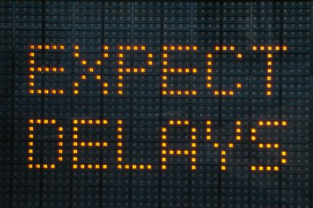 Urban traffic congestion sign saying Expect Delays