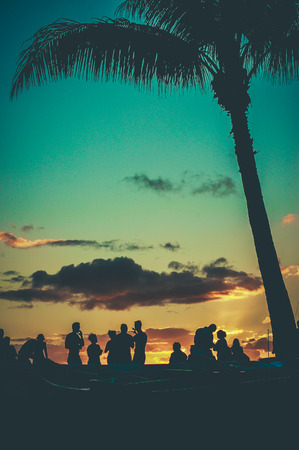 Photo for Young People At Retro Styled Hawaiian Sunset Beach Party - Royalty Free Image
