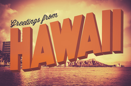 Photo pour Retro Style Vintage Postcard With Greetings From Hawaii - image libre de droit