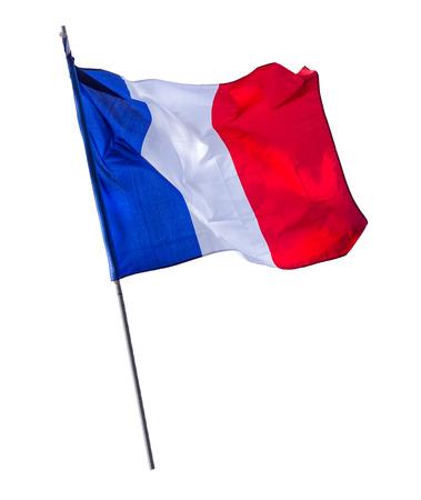 Photo pour Isolated French Flag On A Pole - image libre de droit