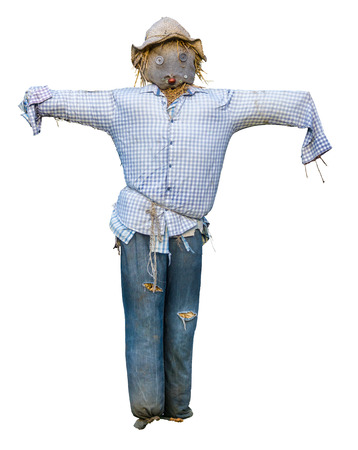 Photo for Spooky Isolated Scarecrow With Hat And Button Eyes On White Background - Royalty Free Image