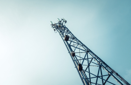 Photo pour A Telecommunications, Cellphone Or Mobile Phone Tower With Copy Space - image libre de droit