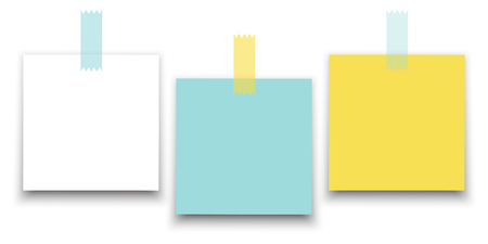 Illustration pour Different color square paper stickers vector collection. Isolated on white background. Place any text on it. - image libre de droit