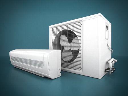 Photo for Image of modern air conditioner on a blue background - Royalty Free Image