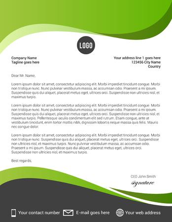 Illustration pour Green and black modern letterhead template - image libre de droit