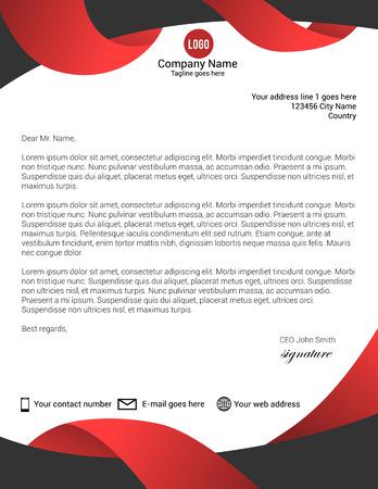 Illustration pour Black and red modern letterhead template - image libre de droit