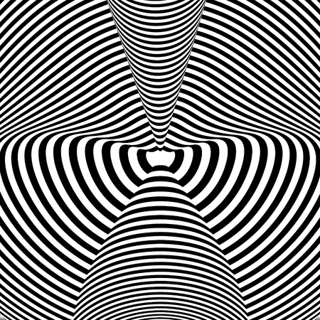Illustration for Abstract black and white background. Geometric pattern with visual distortion effect. Illusion . Op art. - Royalty Free Image