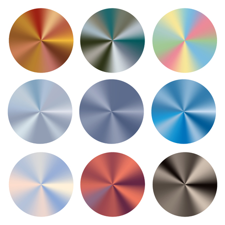 Ilustración de Set conical gradients. Vector radial glossy background. Texture of foil, metal. - Imagen libre de derechos