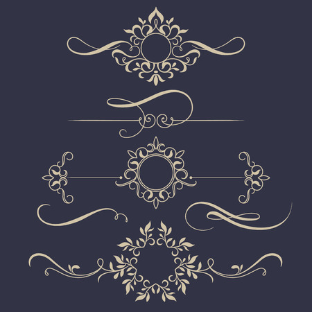 Illustration pour Decorative monograms and calligraphic borders. Template signage, labels, stickers, cards. Graphic design page. Classic design elements for wedding invitations. - image libre de droit