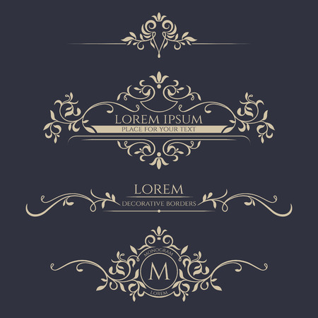 Illustration for Decorative frame, monogram, border. Template signage, labels, stickers, cards. Graphic design page. - Royalty Free Image
