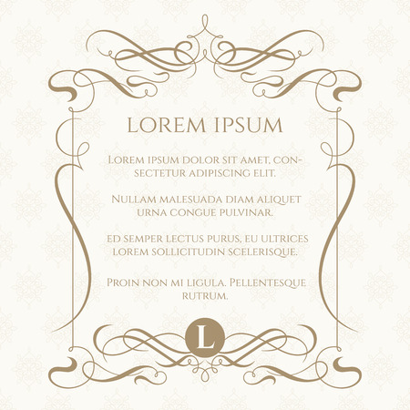 Illustrazione per Monogram, caligraphic frame and classic seamless pattern. Template for greeting cards, invitations, menus, labels. Graphic design page. Wedding invitation. - Immagini Royalty Free