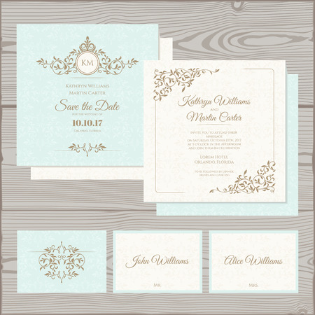 Foto de Wedding invitation, save the date card, place card.  - Imagen libre de derechos