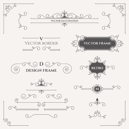 Illustration pour Set of decorative monograms, borders, frames, corners. - image libre de droit