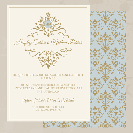 Ilustración de Wedding invitation. Classic seamless pattern. Decorative floral frame and monogram. Template for greeting cards, invitations.  Graphic design page. - Imagen libre de derechos