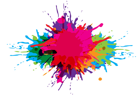 Ilustración de Paint splatter colorful background design. - Imagen libre de derechos