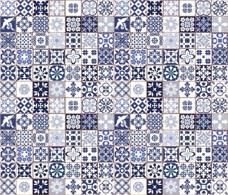 Ilustración de Blue Portuguese tiles pattern - Azulejos vector, fashion interior design tiles - Imagen libre de derechos