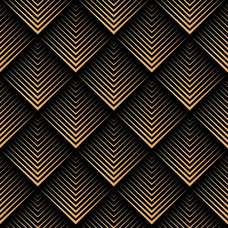 Ilustración de Art Deco, geometric, vector seamless pattern - gold on black - Imagen libre de derechos