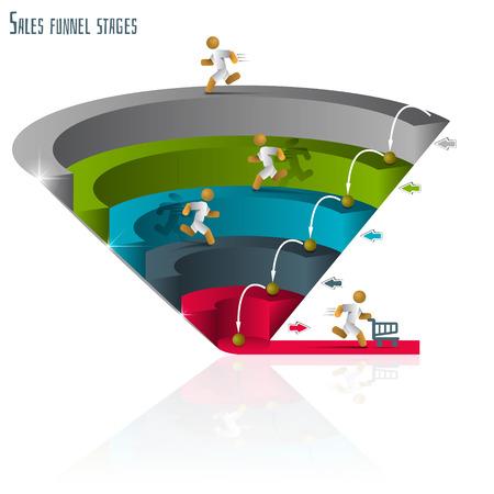 Illustration pour Sales funnel for infographics on a  white background 3D. Vector illustration. - image libre de droit