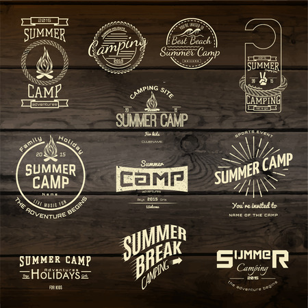 Illustration pour Summer camp badges logos and labels for any use,  on wooden background texture. - image libre de droit