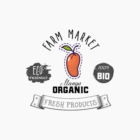 Illustration for Bio sticker and eco products. Mango web element, Isolated Vector. - Royalty Free Image