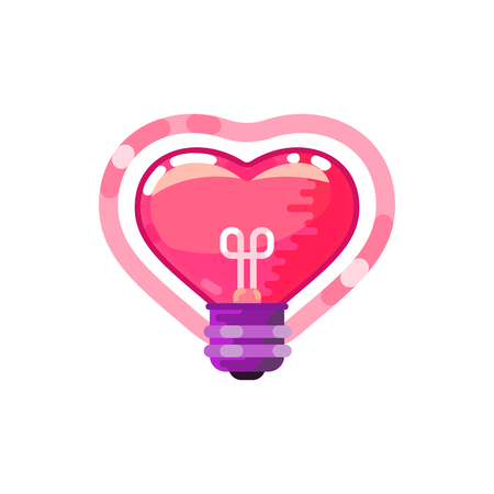 Ilustración de Heart lightbulb, flat design style. On a white background - Imagen libre de derechos