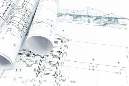 Foto de house sketch with engineering and architecture blueprints - Imagen libre de derechos