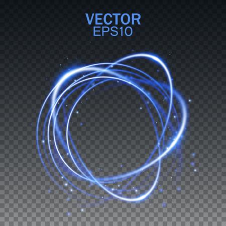 Ilustración de Glow light effect. Magic round frame. Swirl trail effect on transparent background. Vector illustration - Imagen libre de derechos
