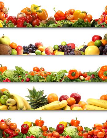 Photo pour 5 nutrition textures (fruits and vegetables isolated on white) - image libre de droit