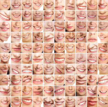 Collage, made of many different smiles