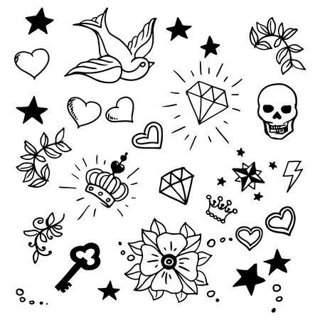 Illustration pour set of old school tattos elements, vector - image libre de droit