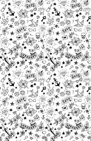 Ilustración de old school tattoos elements pattern, vector illustration - Imagen libre de derechos