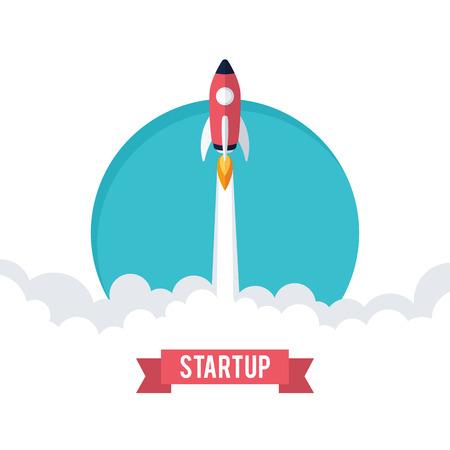 Ilustración de Flat designt business startup launch concept, rocket icon - Imagen libre de derechos