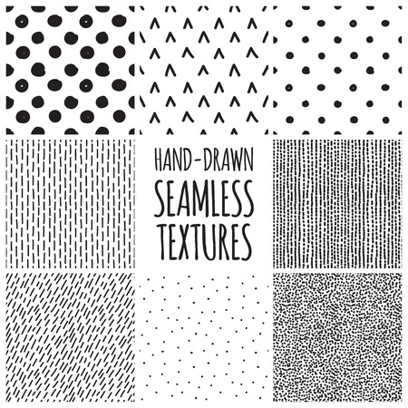 Illustration pour Set of eight black and white seamless hand drawn texture designs for backgrounds, vector illustration - image libre de droit