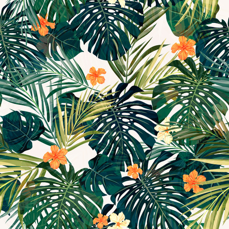 Photo for Summer colorful hawaiian seamless pattern with tropical plants and hibiscus flowers, vector illustration - Royalty Free Image