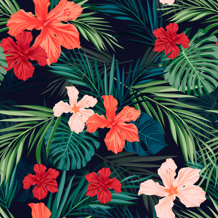 Illustration pour Summer colorful hawaiian seamless pattern with tropical plants and hibiscus flowers, vector illustration - image libre de droit