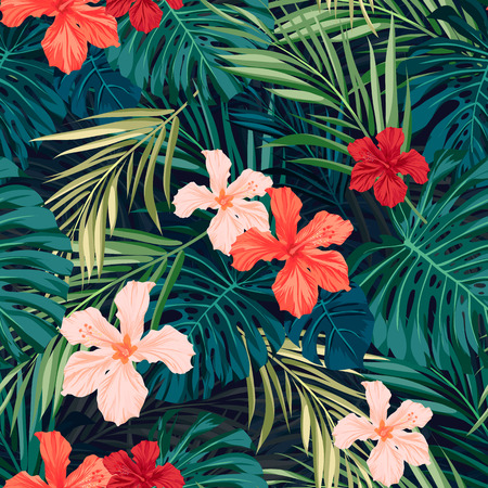 Illustration for Summer colorful hawaiian seamless pattern with tropical plants and hibiscus flowers, vector illustration - Royalty Free Image