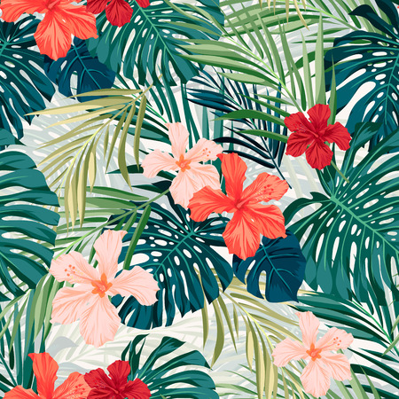 Ilustración de Summer colorful hawaiian seamless pattern with tropical plants and hibiscus flowers, vector illustration - Imagen libre de derechos