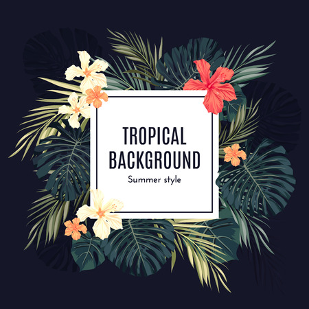 Illustration pour Summer tropical hawaiian background with palm tree leavs and exotic flowers, space for text, vector illustration. - image libre de droit