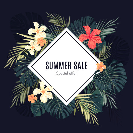 Illustration for Summer tropical hawaiian sale background with palm tree leavs and exotic flowers, space for text, vector illustration. - Royalty Free Image