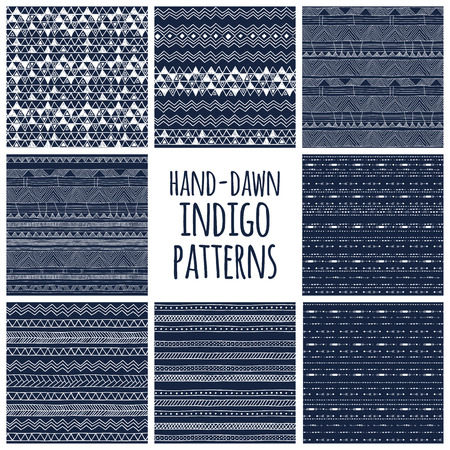 Illustration pour Set of eight indigo blue and white seamless hand drawn texture designs for backgrounds, vector illustration - image libre de droit