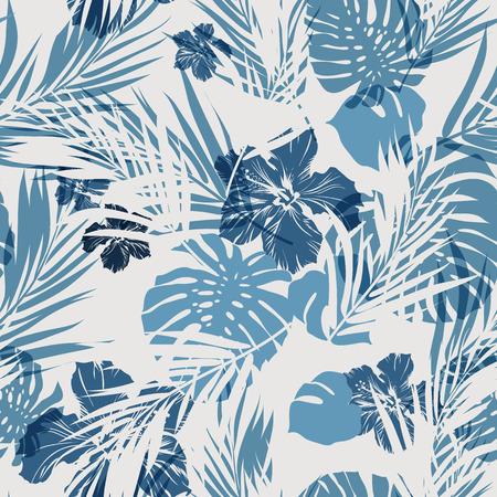 Ilustración de Summer camouflage hawaiian seamless pattern with tropical plants and hibiscus flowers, vector illustration - Imagen libre de derechos