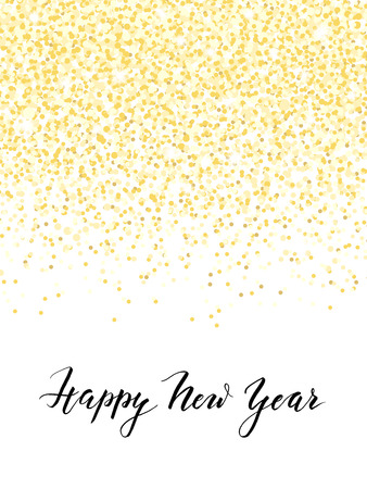 Illustration pour New Year card or invitation design with golden confetti and handlettering, vector illustration - image libre de droit
