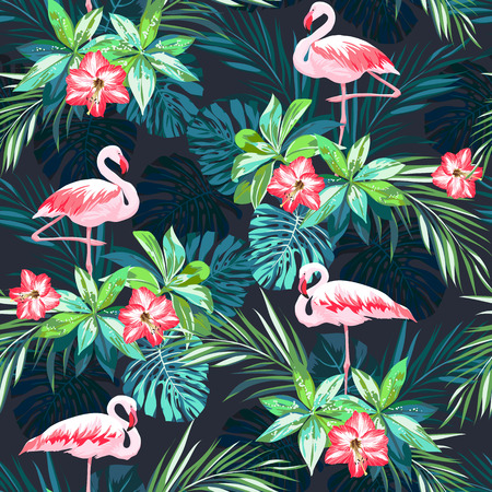 Illustration pour Tropical summer seamless pattern with flamingo birds and jungle flowers, vector illustration - image libre de droit