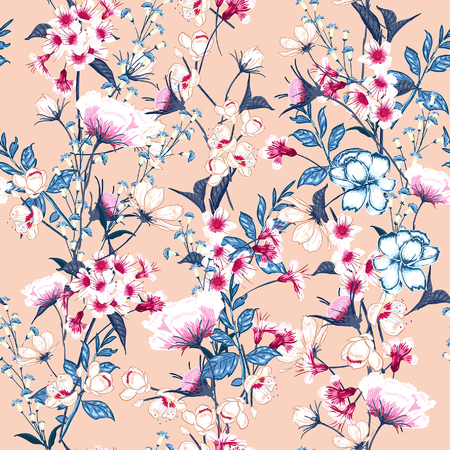 Ilustración de Trendy  Floral pattern in the many kind of flowers. Botanical  Motifs scattered random. Seamless vector texture. Elegant template for fashion prints. Printing with in hand drawn style on pink background. - Imagen libre de derechos