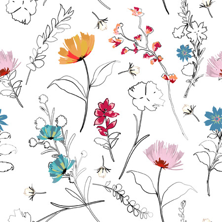 Ilustración de Trendy bright Summer blooming garden outline and hand painting flowers many kind of floral in seamless pattern. - Imagen libre de derechos
