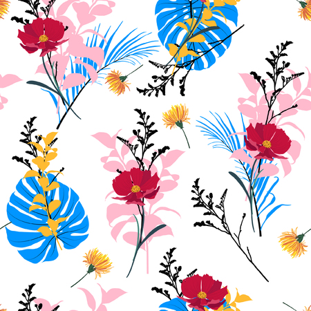 Illustration pour Summer fresh garden Floral seamless pattern blooming white flowers Botanical. Seamless vector texture fashion prints with in hand drawn style on white. - image libre de droit