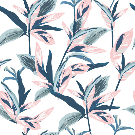 Illustration for Tropical leaves on pastel mood Seamless graphic design with amazing palms. Fashion, interior, wrapping, packaging suitable. Realistic palm leaves.vector on white background - Royalty Free Image