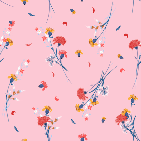 Illustration pour Sweet wild flower pattern Botanical Motifs scattered random. Seamless vector texture. For fashion prints. Printing with in hand drawn style on pink background. - image libre de droit